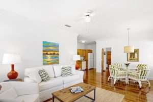 Charlotte Suite living room at Jubilee Suites in Fairhope, AL