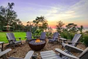 Firepit and sunset at Jubilee Suites in Fairhope, AL