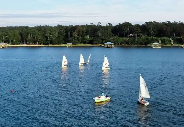 Sailboats on Mobile Bay at Jubilee Suites in Fairhope, AL